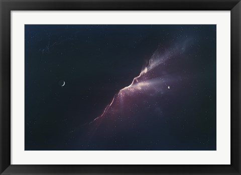 Framed Rays of Light from a Newborn Nebula Print