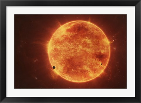 Framed Massive Red Dwarf Consuming Planets Within it's Range Print