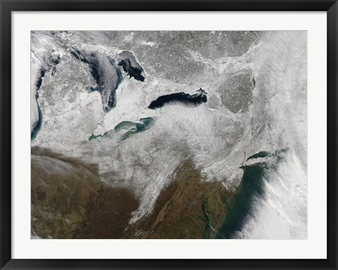 Framed Satellite View of a Large Nor'easter Snow Storm Print