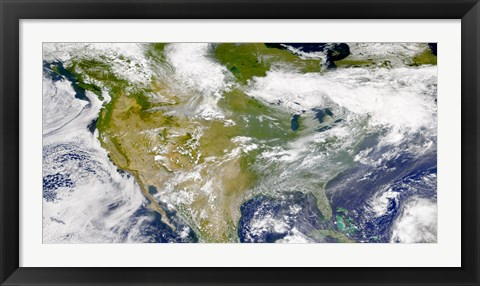 Framed Satellite view of North America with Smoke Visible in Several Locations Print