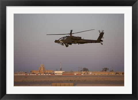 Framed AH-64D Apache Longbow Block III Flies by the Control Tower on Camp Speicher Print