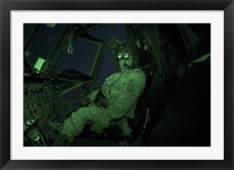 Framed Pilot Wears Night vision Goggles in the Cockpit of a CH-47 Chinook Helicopter Print