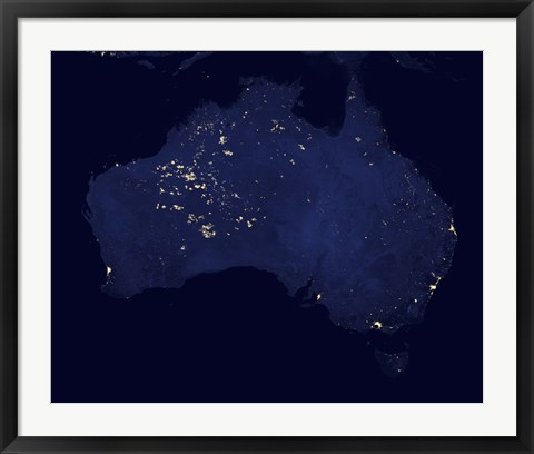 Framed Satellite View Showing the Night Lights of Australia Print