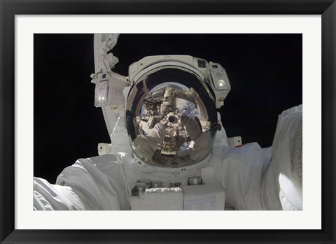 Framed Astronaut uses a Digital still Camera to take a Self-Portrait during a Spacewalk Print
