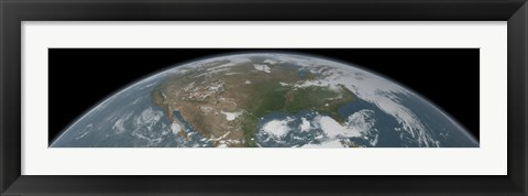 Framed Panoramic View of Planet Earth Print