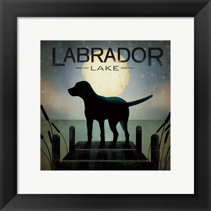 Framed Moonrise Black Dog Print