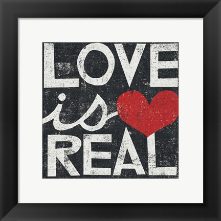 Framed Love Is Real Grunge Square Print