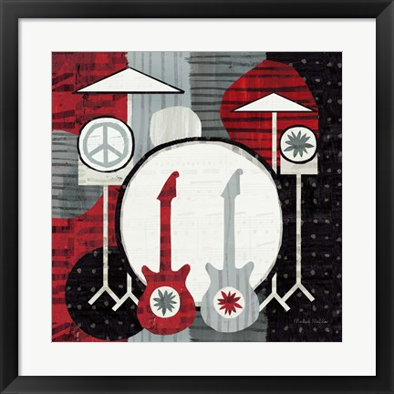Framed Rock 'n Roll Drums Print