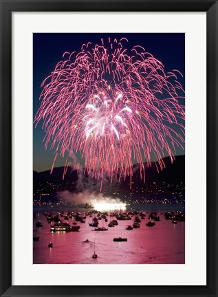 Framed Fireworks, English Bay, Vancouver, British Columbia Print