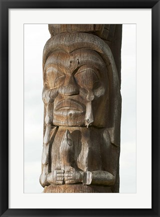 Framed Gitksan totem pole, Kispiox Village, British Columbia Print