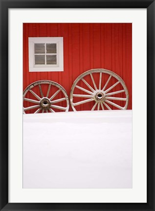 Framed Martin Stables, Window and Wheel Detail, Banff, Alberta Print