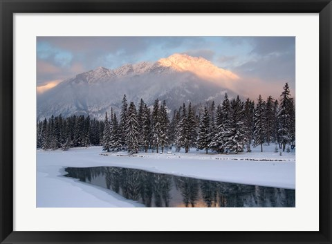 Framed View of Mt Edith and Sawback Range with Reflection in Spray River, Banff, Canada Print