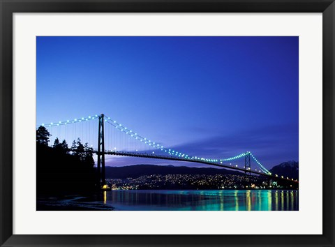 Framed Canada, British Columbia, Vancouver Lions Gate Bridge Print