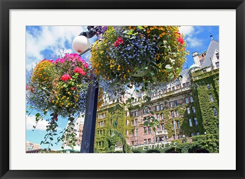 Framed Flowers, Empress Hotel, Victoria, British Columbia Print