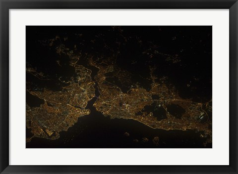 Framed Nighttime view of Istanbul, Turkey Print