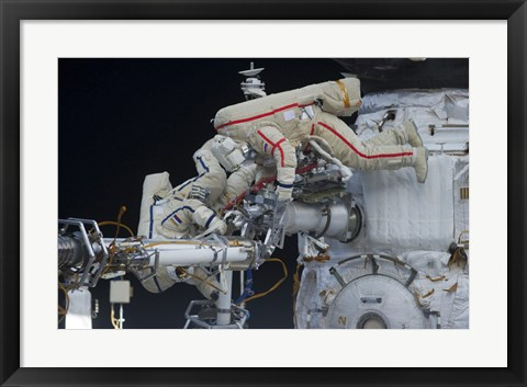 Framed Russian Cosmonauts working on the International Space Station Print
