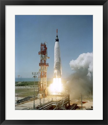 Framed View of the Mercury-Atlas 3 liftoff from Cape Canaveral, Florida Print
