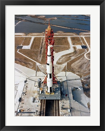 Framed High-angle view of the Apollo 10 space vehicle on its launch pad Print