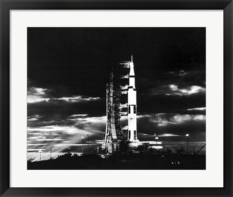 Framed Searchlights Illuminate this Nighttime view of Apollo 17 Spacecraft on its Launchpad Print