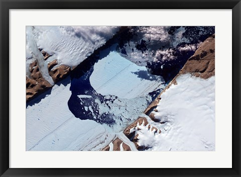 Framed Massive Ice Island Breaks Free of the Petermann Glacier in Greenland Print