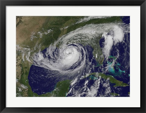 Framed Satellite view of Tropical Storm Isaac in the Gulf of Mexico Print