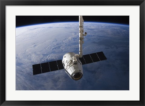 Framed SpaceX Dragon Cargo Craft Prior to being Released from the Canadarm2 Print