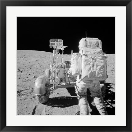 Framed Apollo 16 Astronaut Reaches for Tools in the Back of the Lunar Roving Vehicle Print