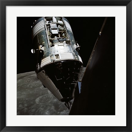 Framed View of the Apollo 17 Command and Service Modules in Lunar Orbit Print