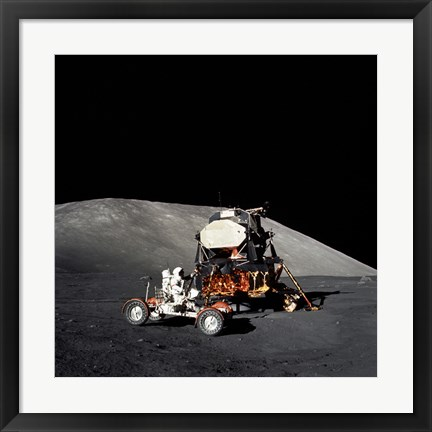 Framed Apollo 17 Astronaut Makes a Short Checkout of the Lunar Roving Vehicle Print