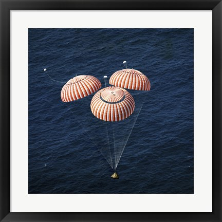 Framed Apollo 16 Command Module approaching Touchdown in the Central Pacific Ocean Print