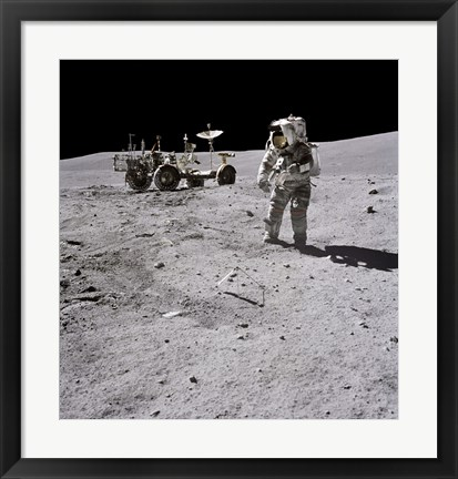 Framed Apollo 16 Astronaut Collects Samples on the Lunar Surface Print