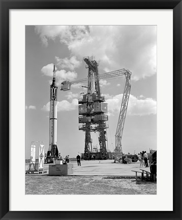 Framed Mercury-Redstone 3 Prelaunch Activities on the Mercury 5 Launch Pad Print