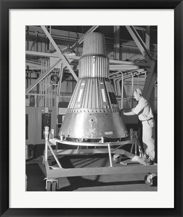 Framed Project Mercury Capsule Complete in Lewis Hangar Print