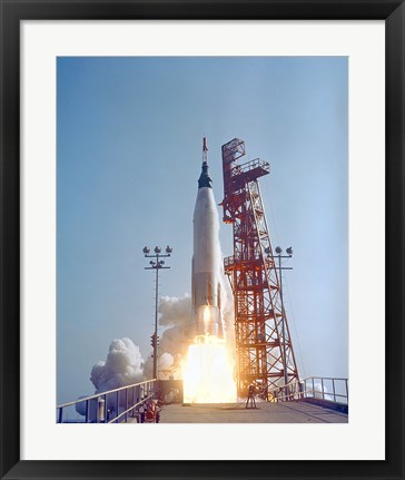 Framed Mercury-Atlas 9 lifts off from its Launch Pad at Cape Canaveral, Florida Print