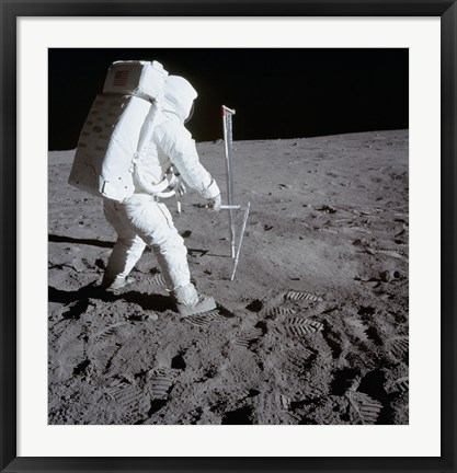 Framed Astronaut during Apollo 11 Extravehicular Activity on the Moon Print