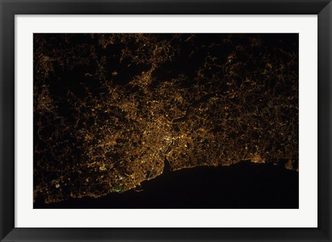 Framed Nighttime image of Portugal Showing City Lights of Porto and Vila de Gaia Print