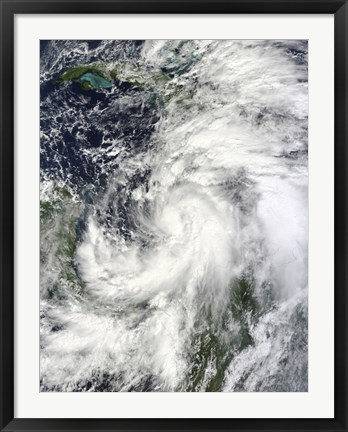 Framed Tropical Storm Sandy Hovering over the Caribbean Sea Print