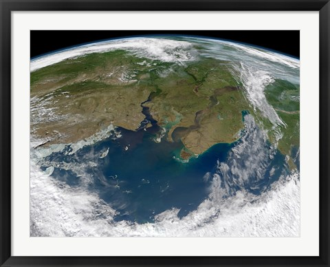 Framed Satellite View of the Ob and Yenisei rivers as They carry Sediments into the Kara Sea Print