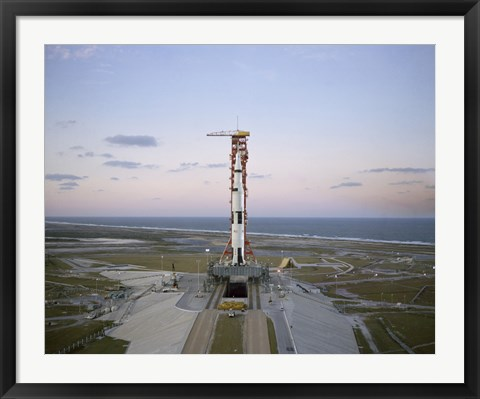 Framed High-angle View of the Apollo 8 Spacecraft on the Launch Pad Print