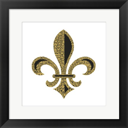 Framed Fleur de Lis (When the Saints Go Marching In Lyrics) Print