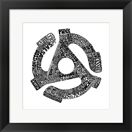 Framed 45 Record Adapter (Music Genres) Print