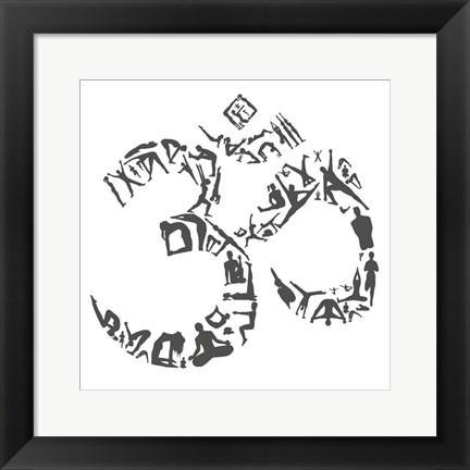 Framed Om Symbol (Yoga Poses) Print