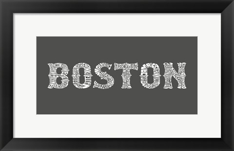 Framed Boston Neighborhoods Print