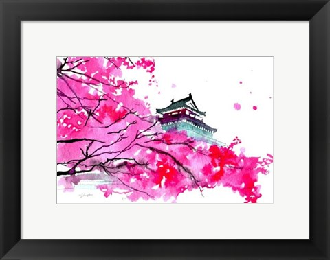 Framed Japanese Temple Scene Print