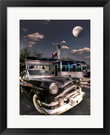 Framed 1953 Packard Clipper and Old Diner Print