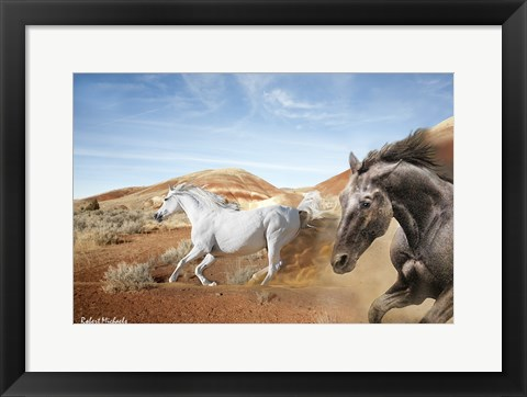 Framed Horses in the Painted Hills Print