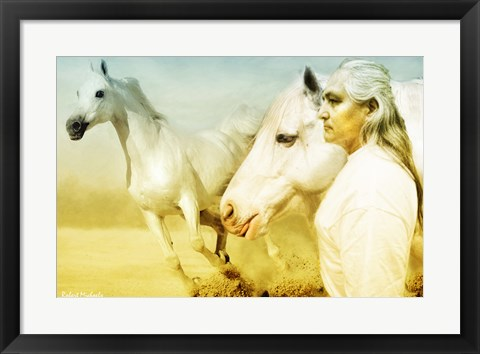 Framed White Horses Print