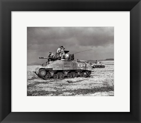Framed American Sherman tank units, 1944 Print