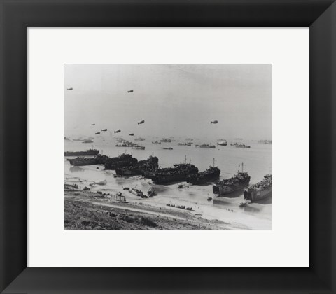 Framed Barrage balloons and shipping at Omaha Beach during the Allied amphibious assault Print
