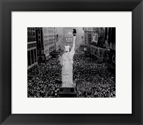 Framed Crowds cheering as President Truman announces Japan's surrender at the end of World War Two Print